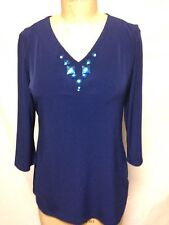 Susan Graver Liquid Knit 3/4 Sleeve V-neck Top with Stone XS Blue New w/Defects