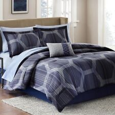 NEW Twin Full Queen Cal King Bed Gray Blue Pentagon 9pc Comforter Sheets Set NWT