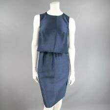 OSCAR DE LA RENTA Size 8 Blue Cotton / Silk Sleeveless Layered Snap Dress