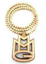 Wooden MMG Mybach Music Rick Ross Pendant Piece Chain Necklace Good Quality Wood