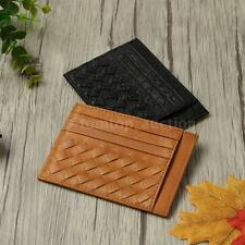 Men Clip Wallet Genuine Leather Woven ID Credit Business Money Card Holder C7M5
