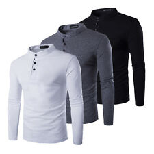 Men's Slim Fit Shirts Long Sleeve T-Shirts Stand Collar Shirts Casual T-Shirts