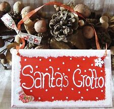 HANDMADE SANTAS GROTTO CHRISTMAS PLAQUE SIGN HAND PAINTED RED SNOW XMAS GIFT