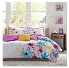 NEW Twin XL Full Queen Cal King Bed 5 pc Teal Purple Yellow Floral Comforter Set