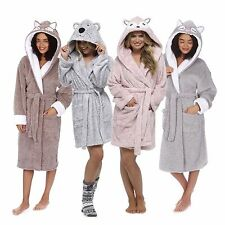 Ladies Coral Fleece Plush Animal Embroidered Hooded Gown Robe Two Tone Size S-XL