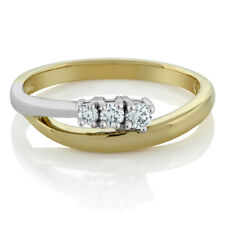 18K Solid Two-Tone Yellow White Gold Three Stone Bypass Diamond 0.25 cttw Ring