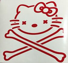 "Hello Kitty Skull & Crossbones Vinyl Window Decal Sticker 4 1/4"" Choose Color"