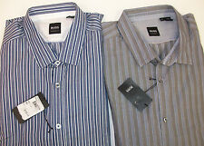 Hugo Boss Lorenzo Shirt $155 Regular Fit  Long Sleeve Striped Blue White  XL NWT