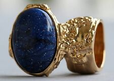 COSMIC BLUE BLACK SKY KNUCKLE ART RING GOLD WOMAN CHUNKY ARTY ARMOR STATEMENT