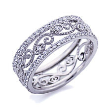 7mm Platinum Plated Sterling Silver 1ct CZ Wedding Band Eternity Ring set