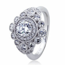 14mm Platinum Plated Silver 1ct CZ Halo Vintage Wedding Engagement Ring set