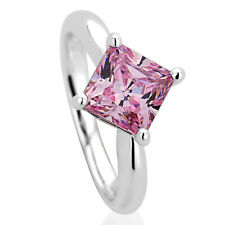 11mm Platinum Plated Silver 2ct Princess Pink CZ Wedding Engagement Ring set