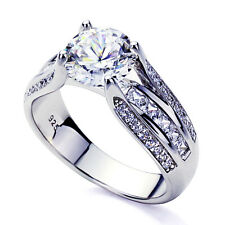 7.5mm Platinum Plated Sterling Silver 2ct Round CZ Wedding Engagement Ring