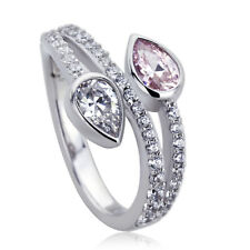 11mm Platinum Plated Silver 1ct Pear Pink CZ Wedding Engagement Ring set