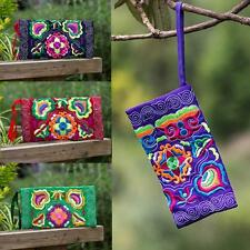 Women Handmade Retro Ethnic Embroidered Wristlet Clutch Bag Vintage Purse Wallet