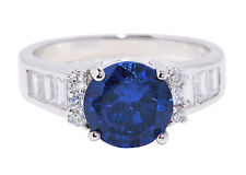 Large Round Blue Sapphire w Emerald Simulated Diamond Sterling Silver Ring