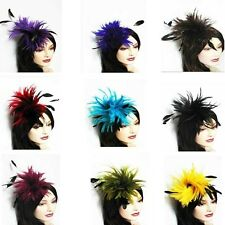 Curve Wired Feather Fascinator Party Hair Clip, Corsage, for Parties Many colors