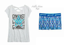 NWT JUSTICE 12 Gymnast Embellished Crisscross Tee & Compression Shorts Outfit