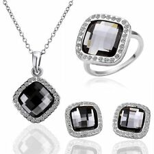 NWT Hot Womens 18K Gold Filled Crystal Square Necklace Earrings Ring Jewelry Set