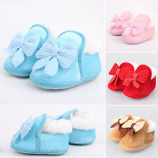 Baby Kids Boy Girl's Lace-Up Stuffed Shoes Toddler Bowknot  Prewalker Crib Shoes