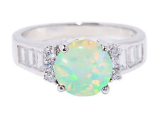 Large Round Green Fire Opal Simulated Diamond Fashion Sterling Silver Ring