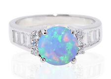 Large Round Moon Blue Fire Opal Simulated Diamond Fashion Sterling Silver Ring