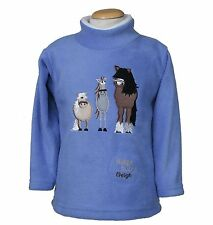 Dozy Mares Horse and Pony Embroidered Childs Blue Fleece Top With Neighing Sou