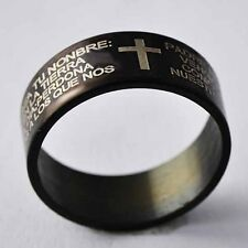 Punk Mens Black Stainless Steel Cross/Holy Bible Hip Hop Ring Size 8 9 10 11