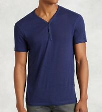 John Varvatos Star USA Men's Short Sleeve 4 Snap Henley Regal Blue $78 msrp NWT