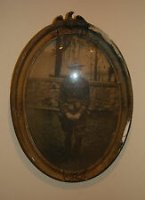 ANTIQUE WWI US ARMY SOLDIER OVAL FRAME CONVEX BUBBLE GLASS PICTURE MILITARY