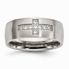 Chisel Brushed Stainless Steel CZ In Recessed Cross Band Size 7 to 13