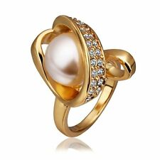 Hot Statement 18K Yellow Gold Plated Crystal Rhinestone Pearl Solid Ring Jewelry