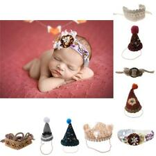 Newborn Infant Baby Knitted Crochet Photography Props Hats Costume Headband