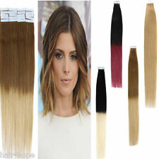 100% Remy Human Hair Extensions Tape In Skin Seamless Ombre Dye Dip T Color 18''