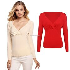 Sexy Womens V Neck Long Sleeve Ruched Front Drape Slim Solid Casual Tops N98B