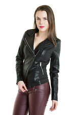 WOMENS BLACK PU BIKER JACKET CROP FAUX LEATHER LOOK LADIES ZIP CROPPED COAT