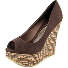 2 Lips Too Too Demand Women  Open Toe Synthetic Brown Wedge Heel
