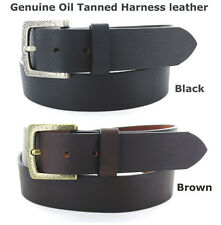 "HANDMADE OIL TANNED HARNESS LEATHER BELTS MADE IN USA 2 COLORS 1 1/2"" WIDE"