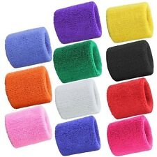 Terry Cloth Cotton Wrist Sweatbands for Sports Fitness Running Yoga Gym Workout