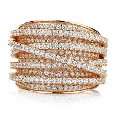 Fine 15mm 14K Rose Gold Plated Silver Intertwined CZ Pave Set Right Hand Ring