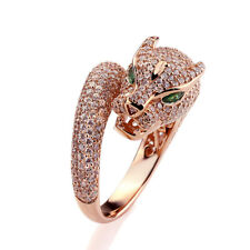 Fine 16mm 14K Rose Gold Plated Silver Puma CZ Pave Setting Right Hand Ring