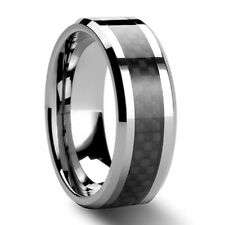 Black Carbon Fiber Tungsten Carbide Ring Mens Wedding Band Size 7-12