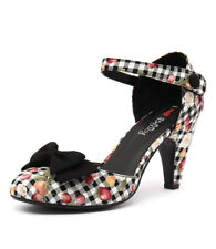 New I Love Billy Annie Black Gingham Print/Black Women Shoes Casuals Heels Pumps