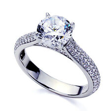 Women 5mm Platinum Plated Silver 1ct CZ Channel Engagement Band Ring set