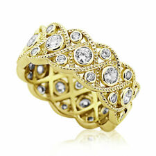 Women 8mm Yellow Gold Plated Silver 1.75ct CZ Band Vintage Eternity Ring set
