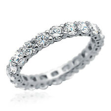Women 3.3mm Rhodium Plated Silver Ring CZ Eternity Engagement Band set