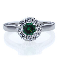 Women 7.5mm Platinum Plated Silver 1ct Emerald CZ Illusion Engagement Ring set