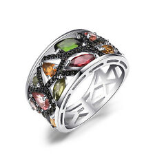 JewelryPalace Genuine Tourmaline Black Spinel Cocktail Ring 925 Sterling Silver