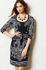 NWT ANTHROPOLOGIE by KNITTED & KNOTTED NAVY BLUE PAISLEY PEPLUM SWEATER DRESS M
