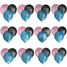 "10"" Pack of 20 Birthday Age 1-80 Latex Balloons Party Decoration Choose Color"